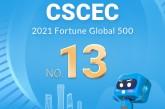 CSCEC  13e au  classement de  Fortune Global 500  en 2021